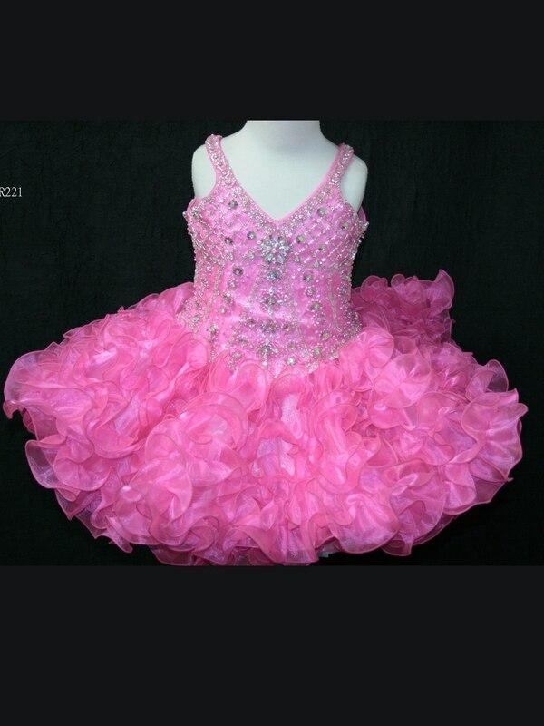 Robe de bal rose fluo petite Rosie robes de demoiselle d'honneur avec col en v perlé paillettes Organza robes courtes de reconstitution historique fermeture éclair