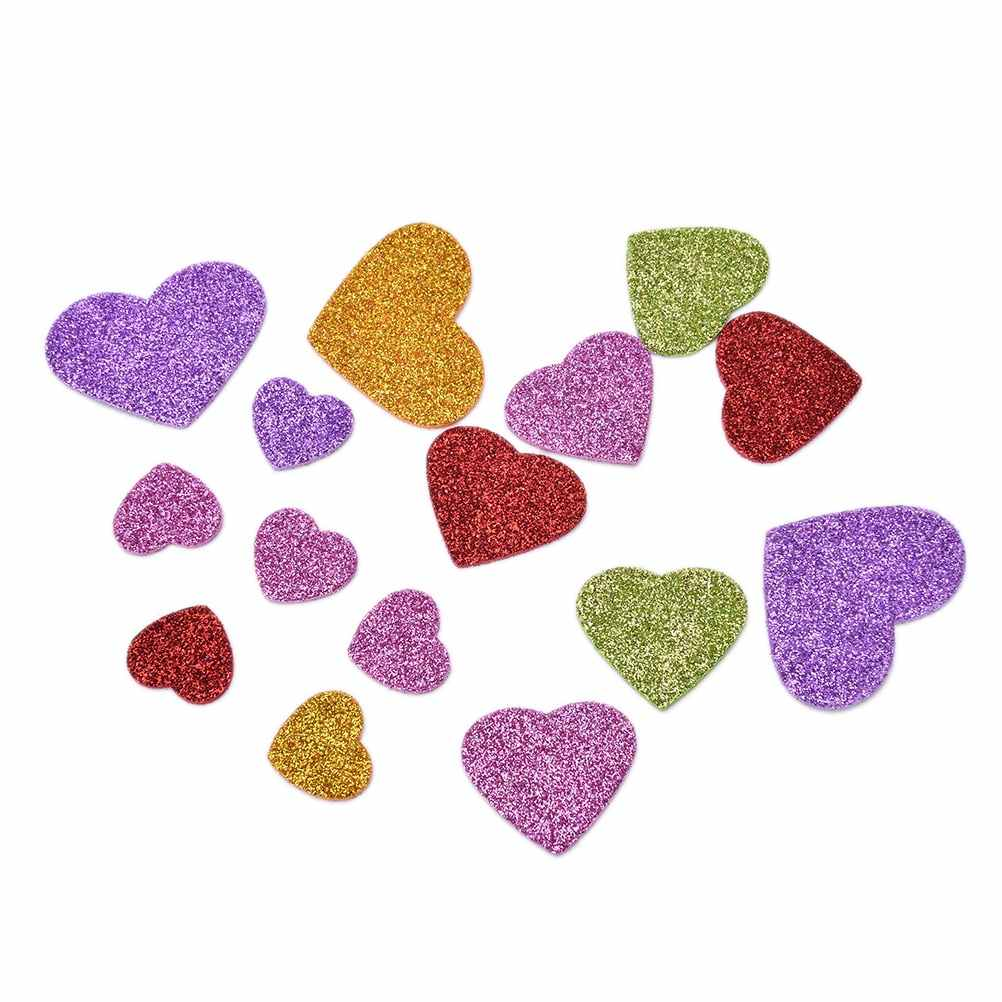 Mixed Size 45Pcs Colorful Heart Confetti glitter foam heart stickers DIY Scrapbooking craft Kids toy Party Decoration
