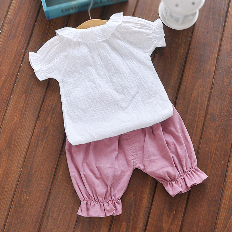 dc30e2d6e7a4 Baby set summer newborn baby girl clothes white t shirt pants suit 2pcs 1  year old baby girl clothes set -in Clothing Sets from Mother   Kids on ...