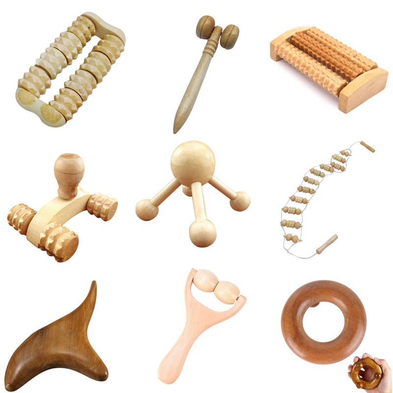 Wood Body Foot Reflexology Acupuncture Shiatsu Thai Massager Roller Therapy Meridians Scrap Lymphatic Drainage