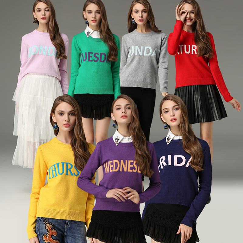 New Arrival Fashion Monday Sweater Women 2017 Sunday Letter Print Jumper Pullovers Christmas Autumn Winter High Quality Feminino