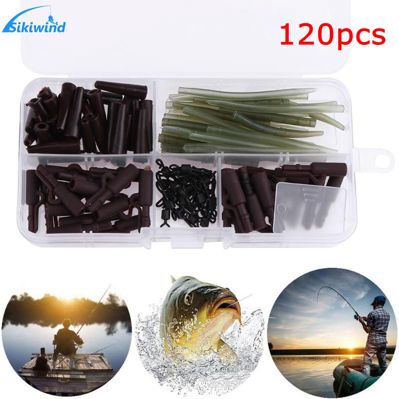 120pcs/set Carp Fishing Accessories Anti Tangle Sleeves+Tail Rubbers+Safety Lead Clips+Quick Change Swivels Tackle Tool with Box