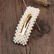 New fashion pearl hairpin hand-woven hair accessories Korean girl hollow spring clip female elegant rhinestone hai