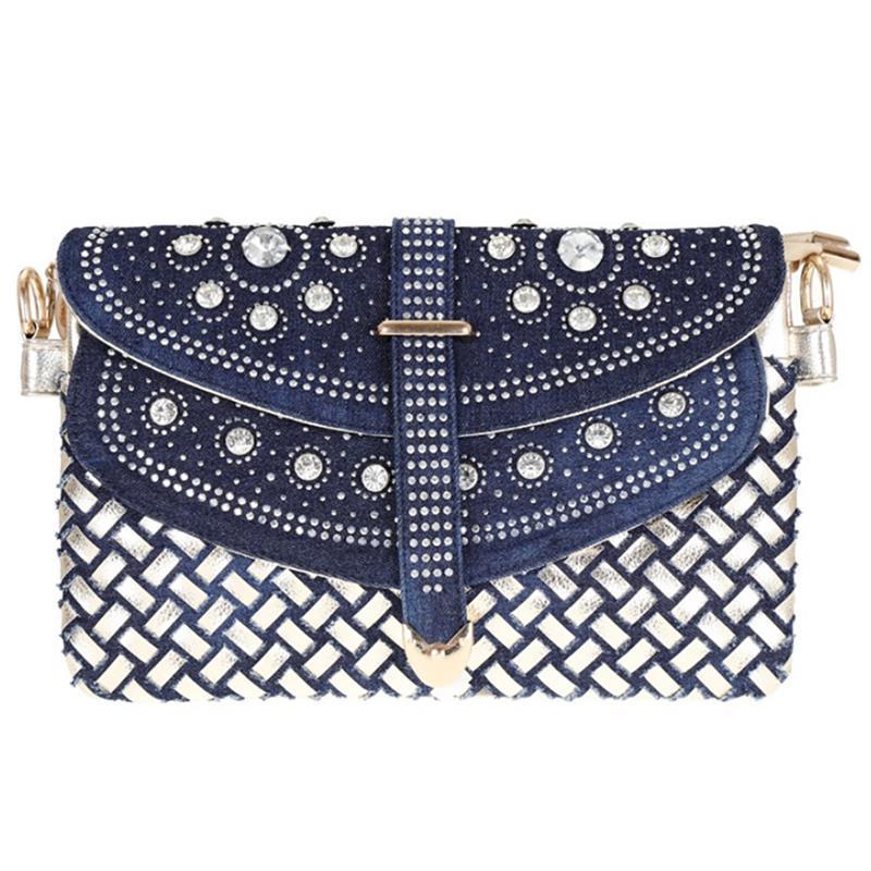 Bolsa de Ombro Moda Feminina Tecido Diamante Denim Ombro Slung Chain Bolsa Elegante Strass Alça Superior Crossbody 2019