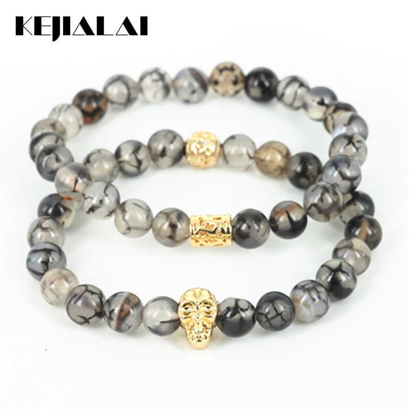 KEJIALAI nowy naturalne pęknięcia kamień okrągły koraliki mężczyźni bransoletka zroszony 24 k ze złotą czaszką głowy kobiety bransoletka Fine Jewelry prezent A0595