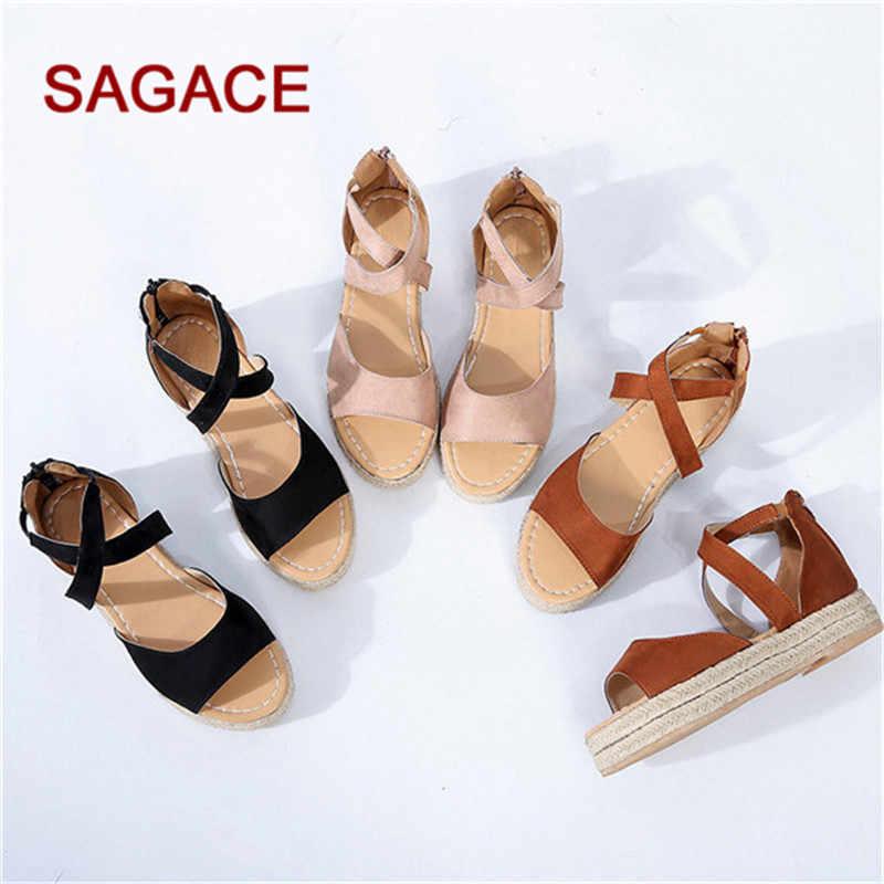Sandalias de Mujer de encaje plataforma de Mujer Peep Toe tejido cremallera plana de fondo grueso Sandalias Zapatos romanos Sandalias Mujer 2019