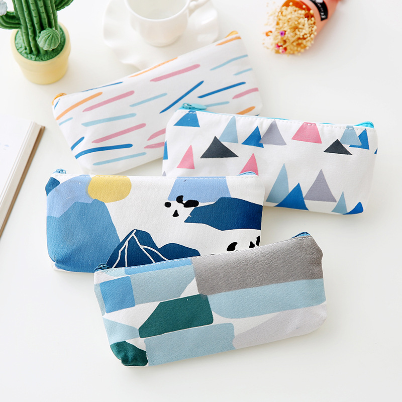 Abstract landscape pencil case cute canvas school student stationery bag office