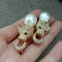 White Keshi Pearl Earrings Yellow Golden Plated Cz Pave Dragon Stud Earrings