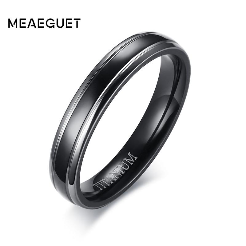 Meaeguet Trendy 100% Titanium Wedding Bands For Men Women Black Engagement Wedding Rings 4MM Wide Anel Jewelry
