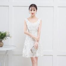 Bridemaid Dress White Color Mini Dress  Women Wedding Party Dress Simple Vintage Embroidery Sexy Prom dress Vestido bridemaid dress pink color mini dress women wedding party dress