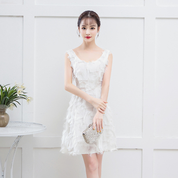 Bridemaid Dress White Color Mini  Women Wedding Party Simple Vintage Embroidery Sexy Prom dress Vestido