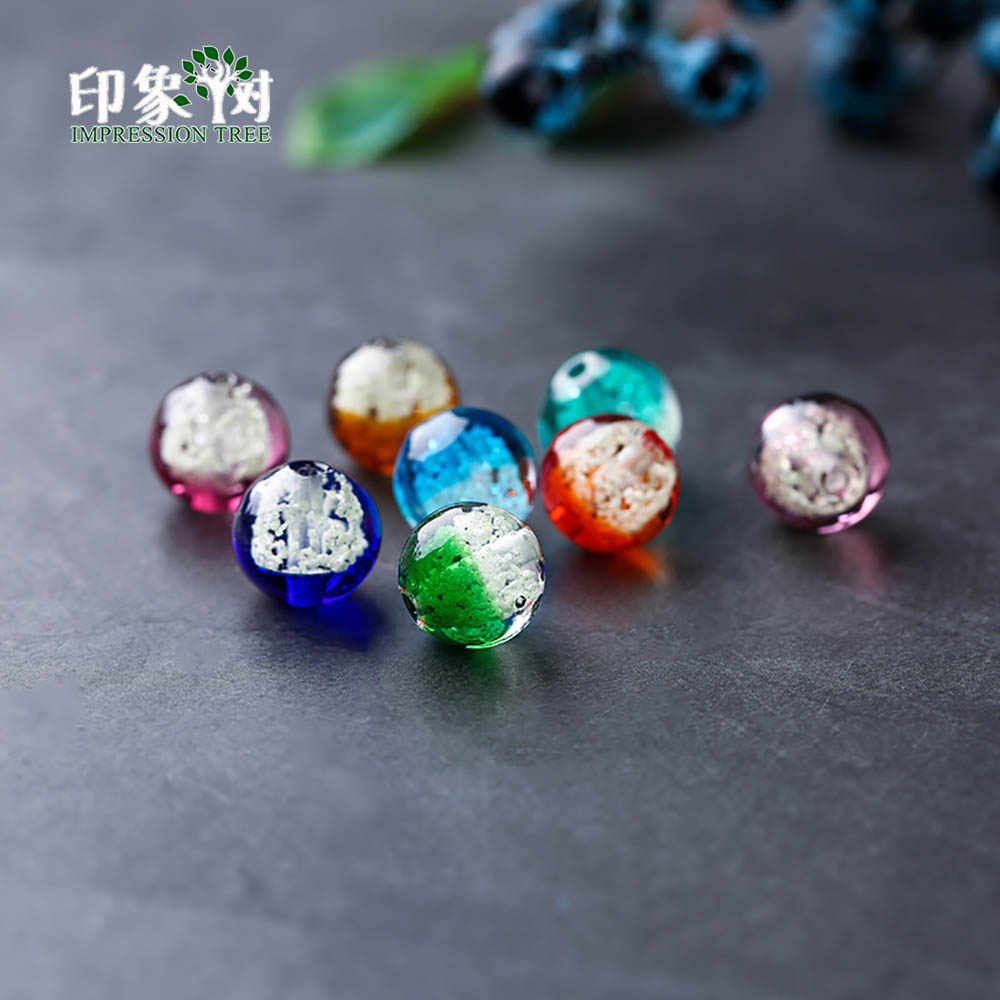 10pcs 12mm Red Round Foil Inside Lampwork Glass Loose Beads DIY Jewelry Finding