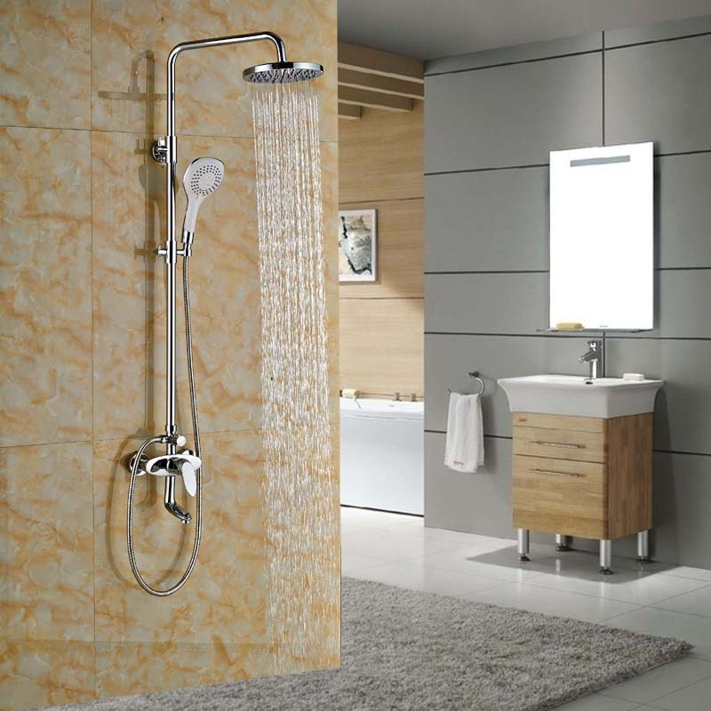 Brass Chrome Rainfall Tub Shower Faucet Wall Mount Bathroom Shower Mixer Tap Handshower polished chrome wall mount temperature control shower faucet set brass thermostatic mixer valve with handshower