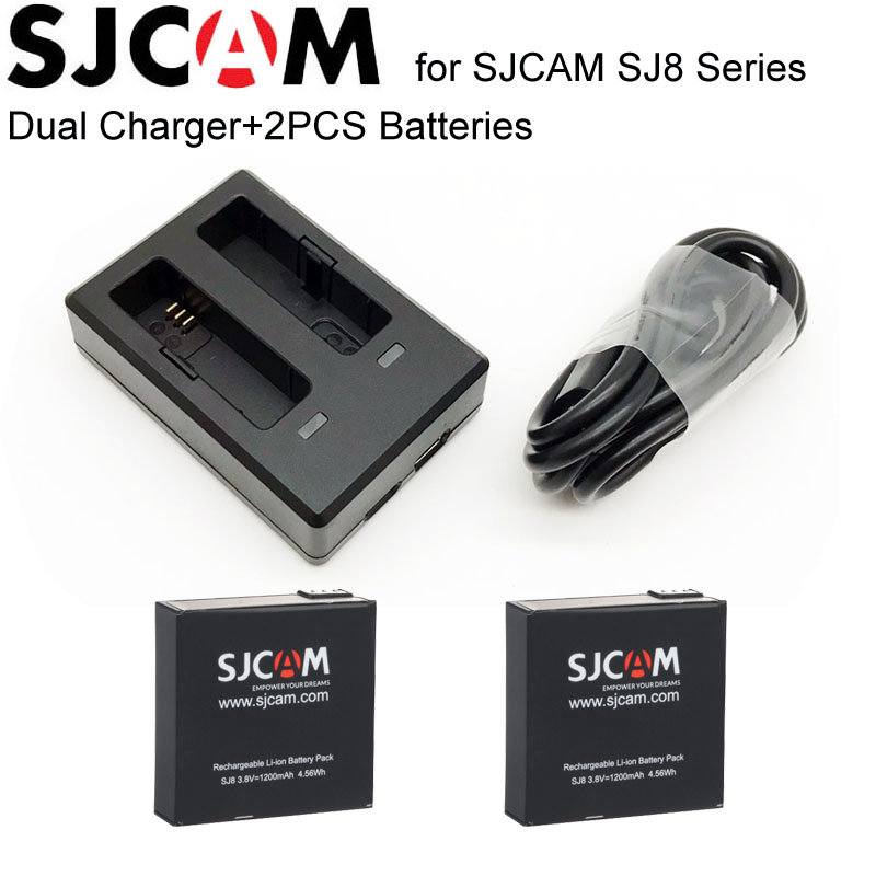 SJCAM SJ8 Battery 2PCS 1200mAh Rechargeable Li-ion Batteries+1PCS Dual Charger for SJ Cam SJ8 Plus Action Camera for SJ8 Pro Cam