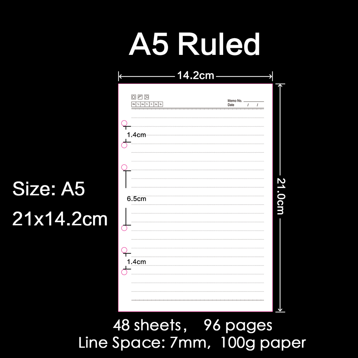 30 Pieces / Lot A5 210x142mm High Quality Ring Binder