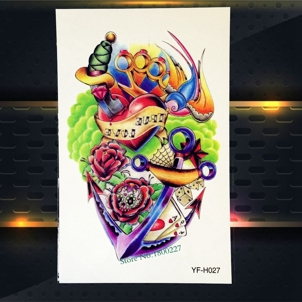 1PC Healthy Waterproof Decals Arm Tattoo Anchor Blood Heart Sword Design Temporary Tattoo Sticker Body Art Flash Tattoos PYFH027