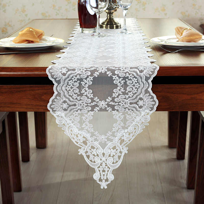 Lace wedding table runners white embroidered coffee table runner christmas home decorative knitted dining table runner lace