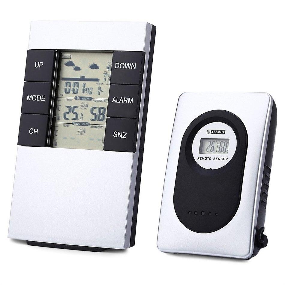 LED Digital Weather Station Wireless Indoor Outdoor Alarm Clock Thermometer Humidity Meter Wireless Sensor Hygrometer Clock