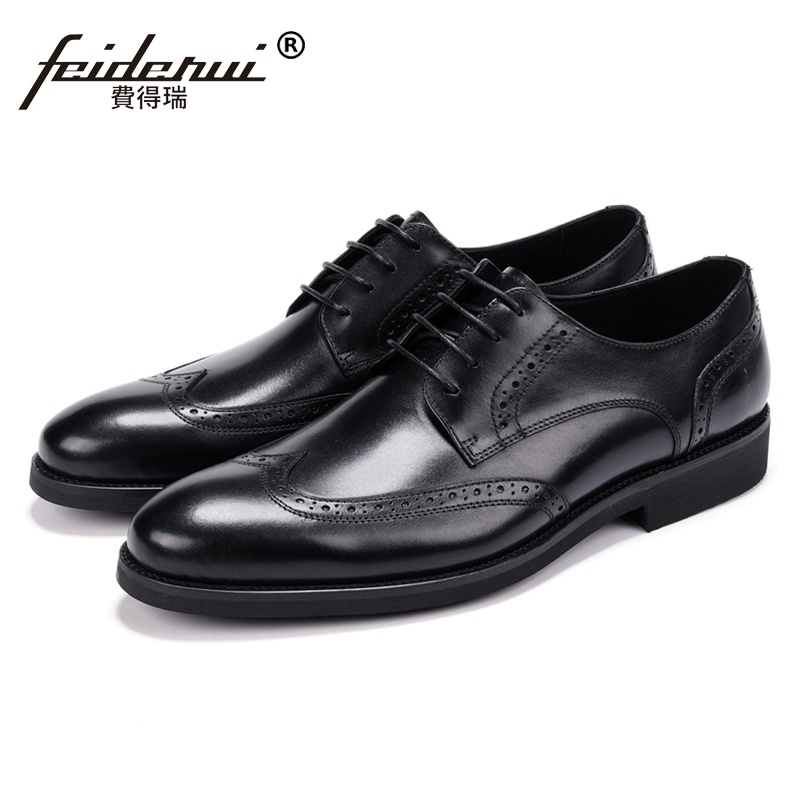 Spring Autumn Man Handmade Brogue Wedding Shoes Genuine Leather Carved Oxfords Round Toe Men's Formal Dress Prom Footwear JS126 luxury formal dress man carved brogue shoes genuine leather round toe men s oxfords handmade wedding party footwear js88