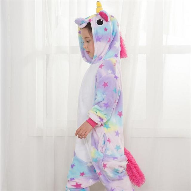 Girl Kigurumi Unicorn Cosplay Fancy Funny Soft Animal Costume Kid Anime Cartoon Easter Carnival Party OnePiece Onesie Disguise