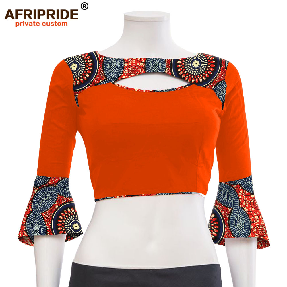 2019 été africain sexy chemise pour dame AFRIPRIDE sur mesure tissu coloré et dashiki débardeur court A1922004