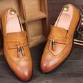 Marca Nueva Borla Del Dedo Del Pie Puntiagudo Zapatos de Los Hombres Casuales Zapatos de Los Hombres de Los Holgazanes de Cuero Marrón Negro Vino