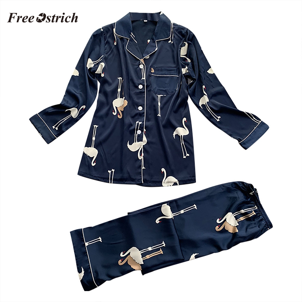 Free Ostrich Pijama Women Set Sleepwear Long Sleeve Printed Nightwear Satin Top Pants Sets Lingerie Nightwear Pyjama Femme 612