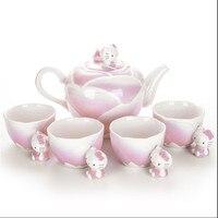 Japan Hello Kitty limited edition handmade ceramic and porcelain enamel teapot tea sets pot four cups