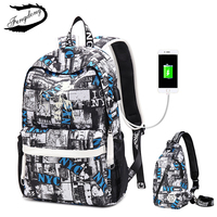 Fengdong Brand Oxford Cloth Student Bag Men Backpack Middle School Korean Character 15 Inch Bag Travel