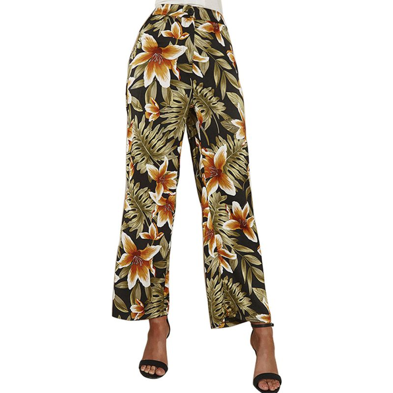 Summer   Wide     Leg     Pants   Women Floral Print Trousers High Waist Fashion Female Vintage   Pants