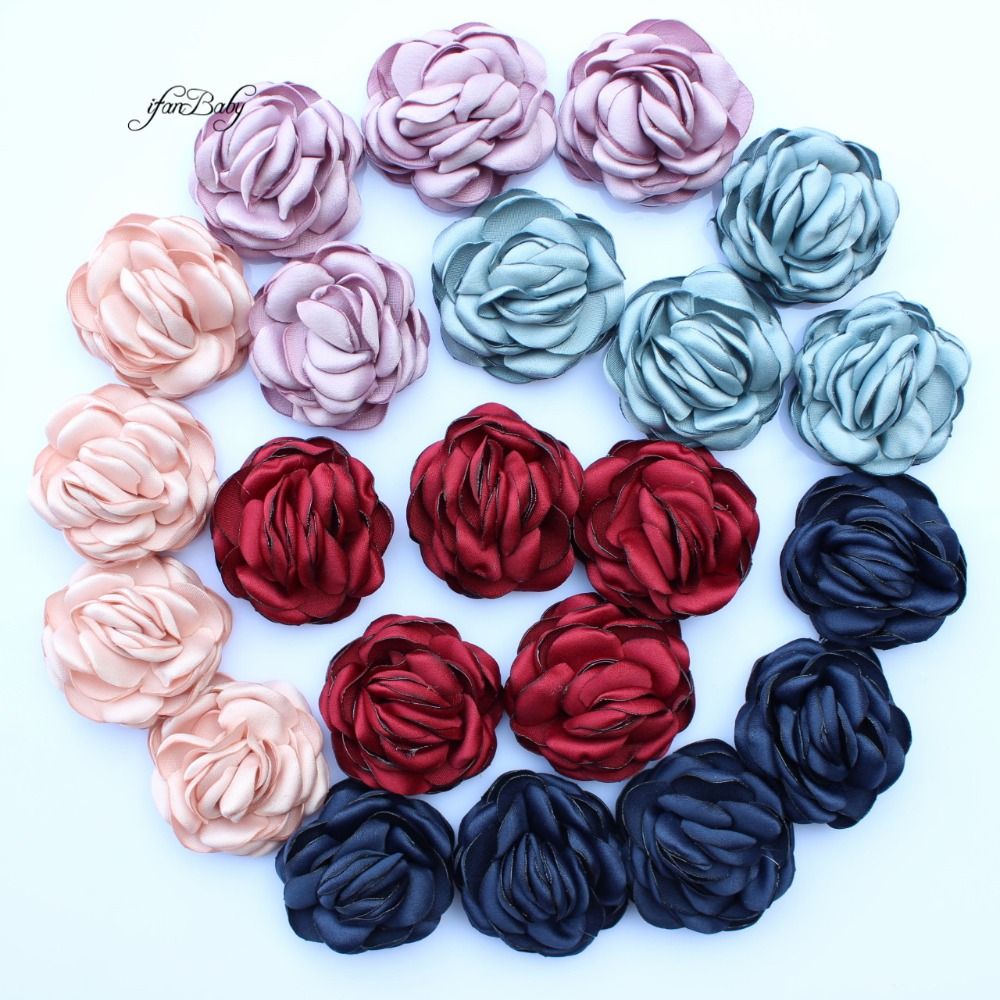 Girl's Hair Accessories 2017 Hair Flowers Girls Kids Women Hair Accessories Burned Singed Hair Flower Satin Fabric Flowers 30pcs