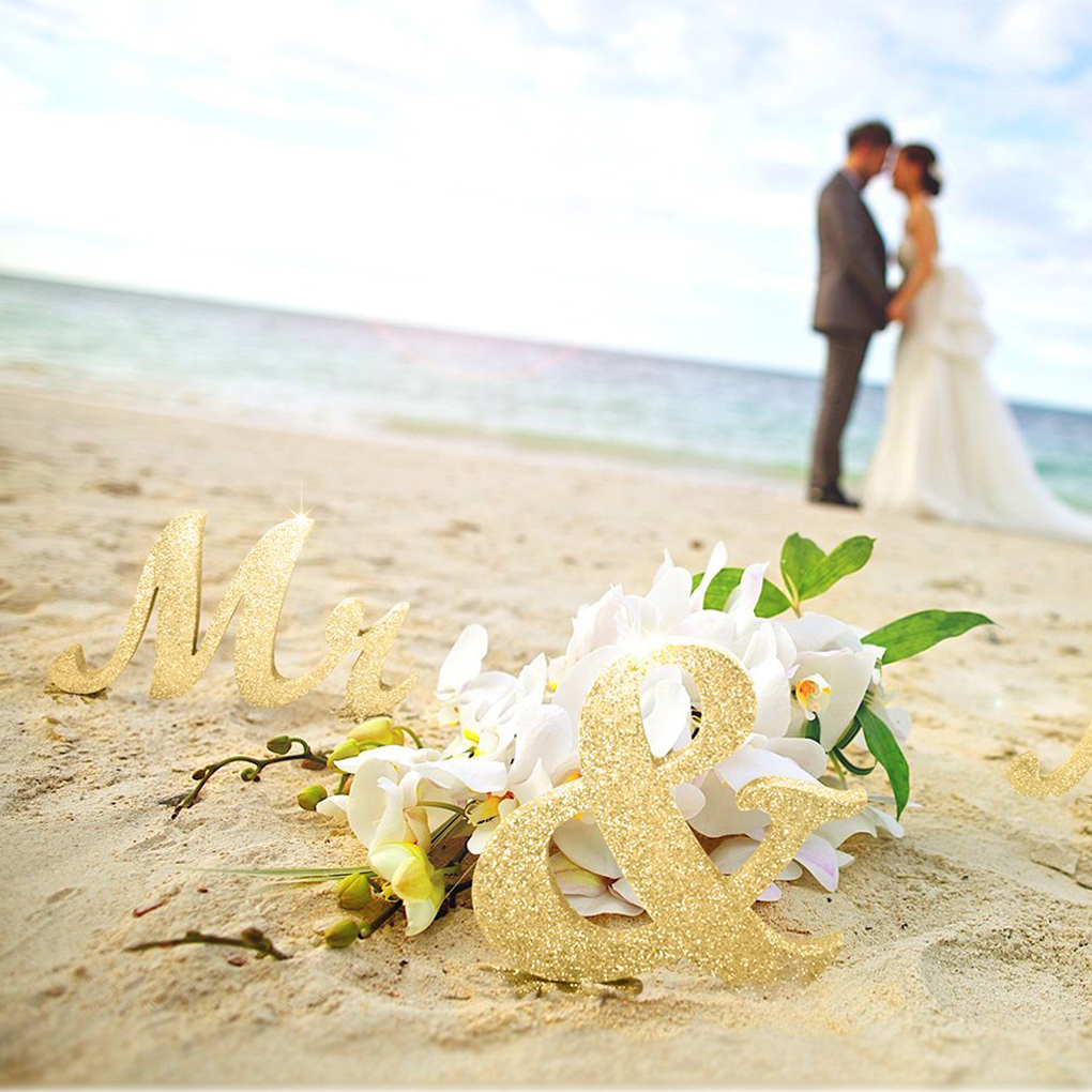Мистер и миссис знак Милая свадебные украшения стола деревянные буквы цветок декор базы с золотым блеском/серебряный блеск