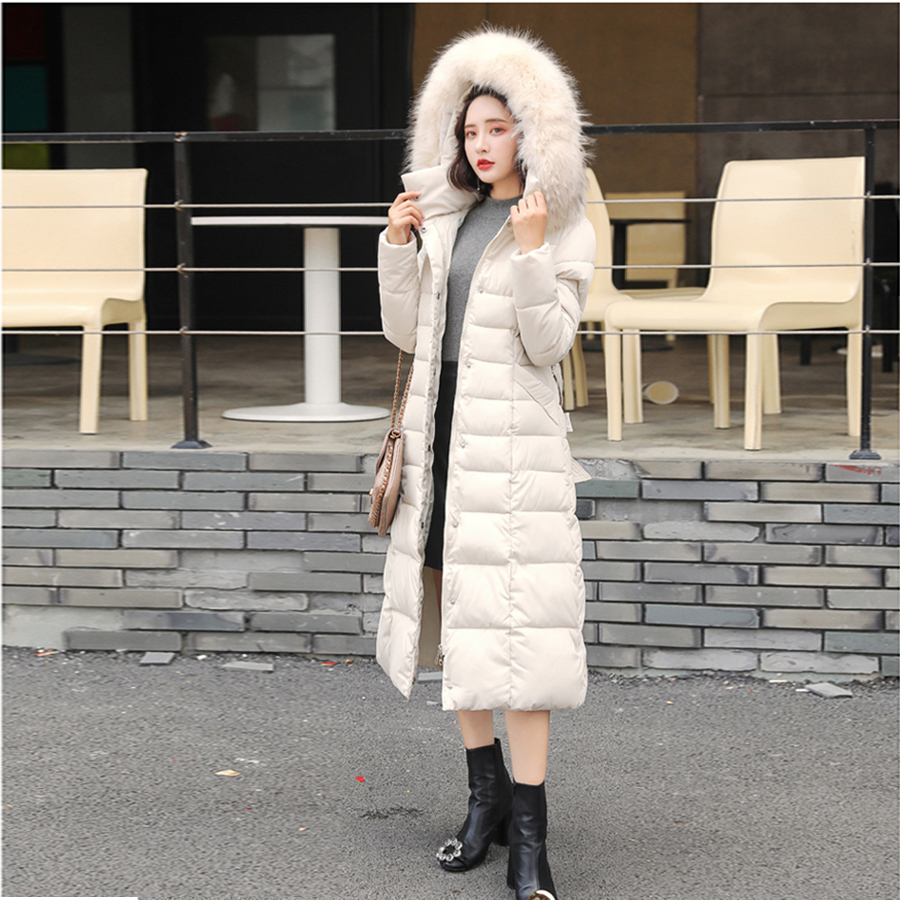 Women Long Thick   Down     Coats   Warm Solid Color Fur Collar Waist Slim Womens   Down     Coat   Zipper Full Fashion Casual Female New Style