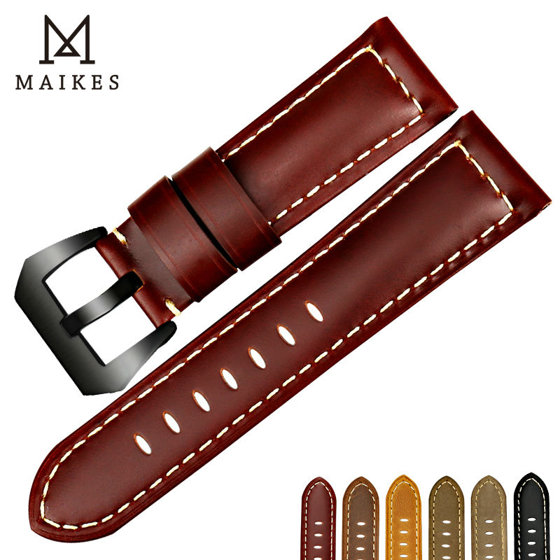 MAIKES New samsung gear s3 strap watch bracelet Genuine leather watch band 22mm 24mm 26mm garmin fenix 3 watchbands for Panerai maikes 18mm 20mm 22mm watch belt accessories watchbands black genuine leather band watch strap watches bracelet for longines