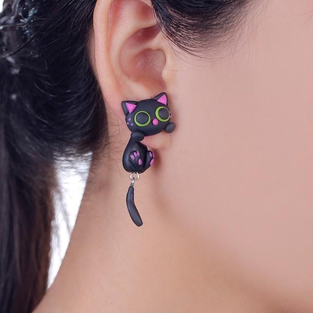 W Aoe New Design Handmade Purple Ear Cute Cat Stud Earring Fashion Jewelry Polymer Clay