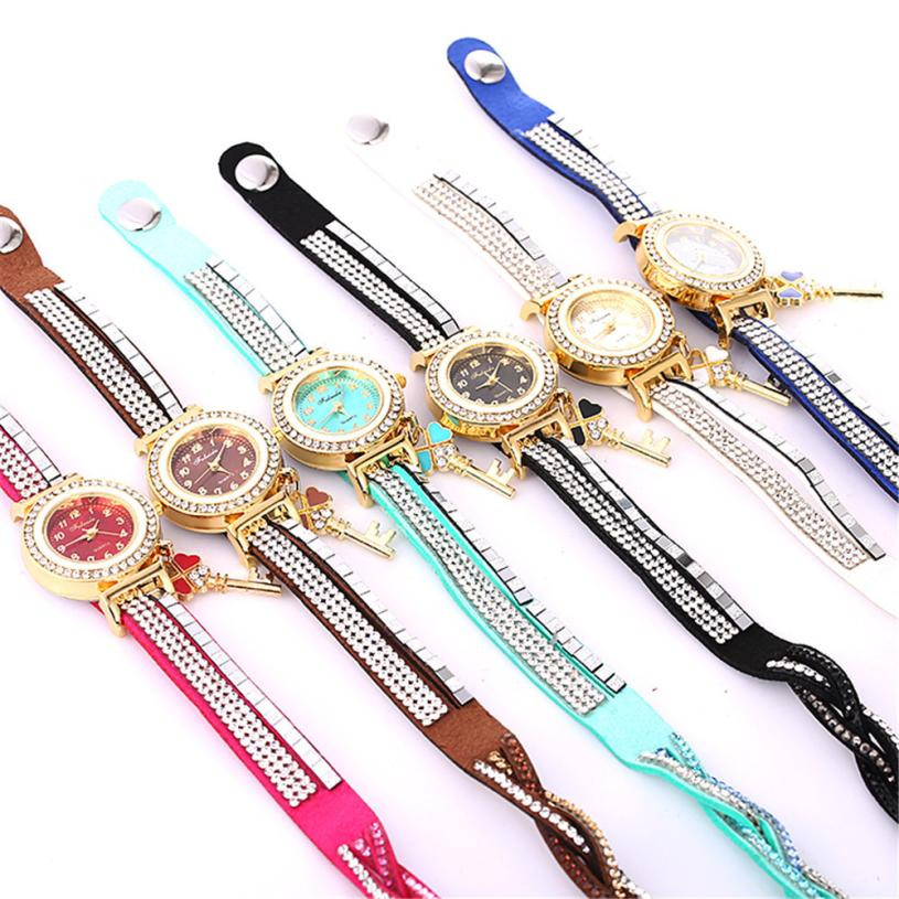 Moment # L04 2018 Beautiful Fashion Bracelet Clasp Womens Watch Ladies Watch Round bracelet watch Good Gift For Students Girls