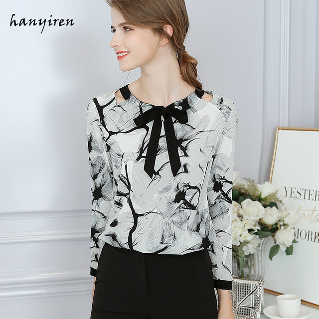 8fdca56c248e9 Hanyiren Women Floral Print Chiffon Blouse Female Long Sleeve Slim Office  Ladies Bow Tie Neck Shirts