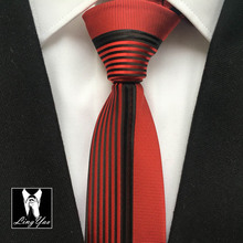 2016 NEW Luxury Mens Panel Tie Unique Patchwork Ties Half Solid Red wth Black Vertical Stripes