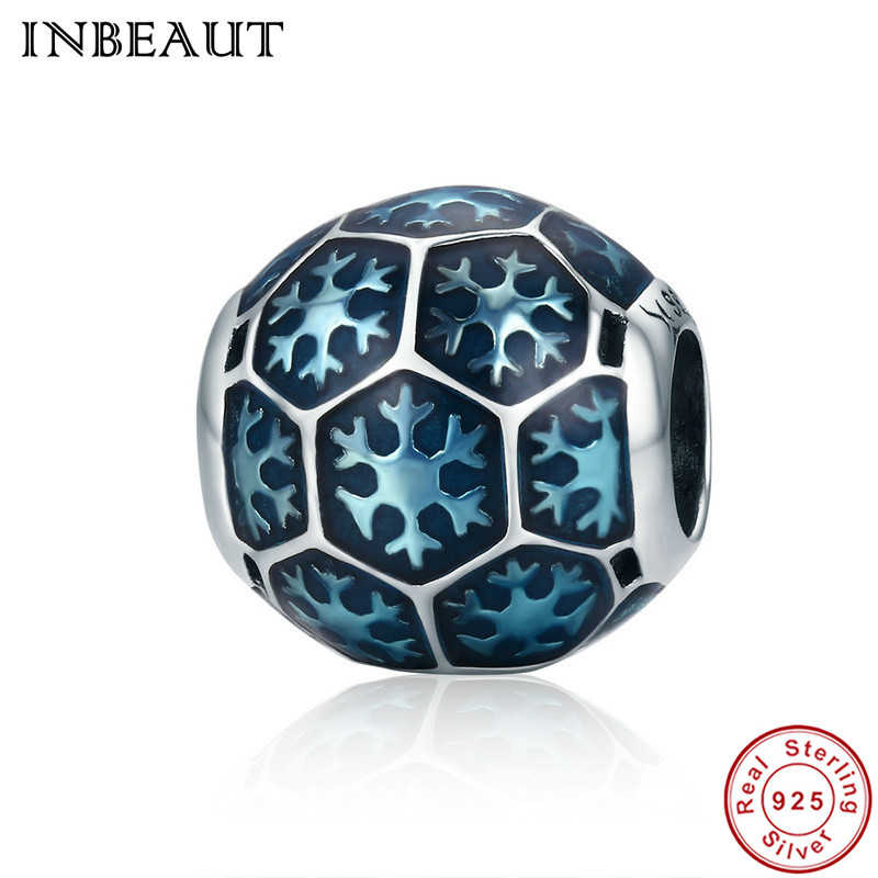 INBEAUT Fashion Classic 925 Sterling Silver Blue Snowflake Enamel Beads fit Pandora Charm Bracelet Sterling Silver DIY Jewelry
