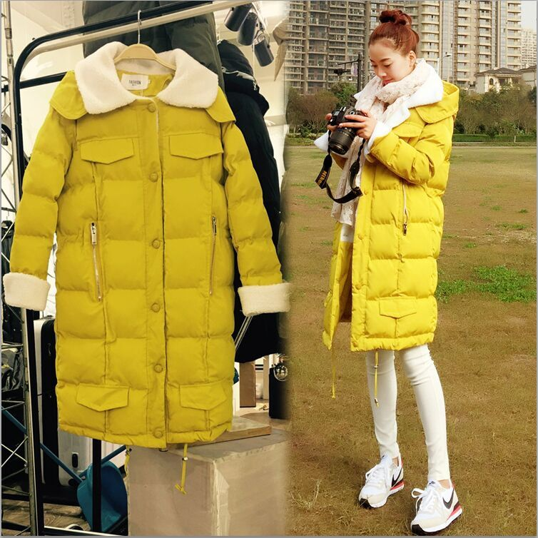2016 New European Winter Jacket Women Long Down Jacket Cashmere Warm Thick Mianfu Candy Colored Hoodie Coat Plus Size Coats 2016 new warm winter coats for women european high end slim belt long double breasted lapel women s long down jacket winter
