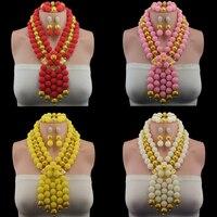 Nigeria wedding choker fashion african beads jewelry set braid Necklace earrings dubai jewelry sets for women