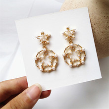 Unique female irregular pearl earrings delicate geometric Bohemia wedding jewelry gifts