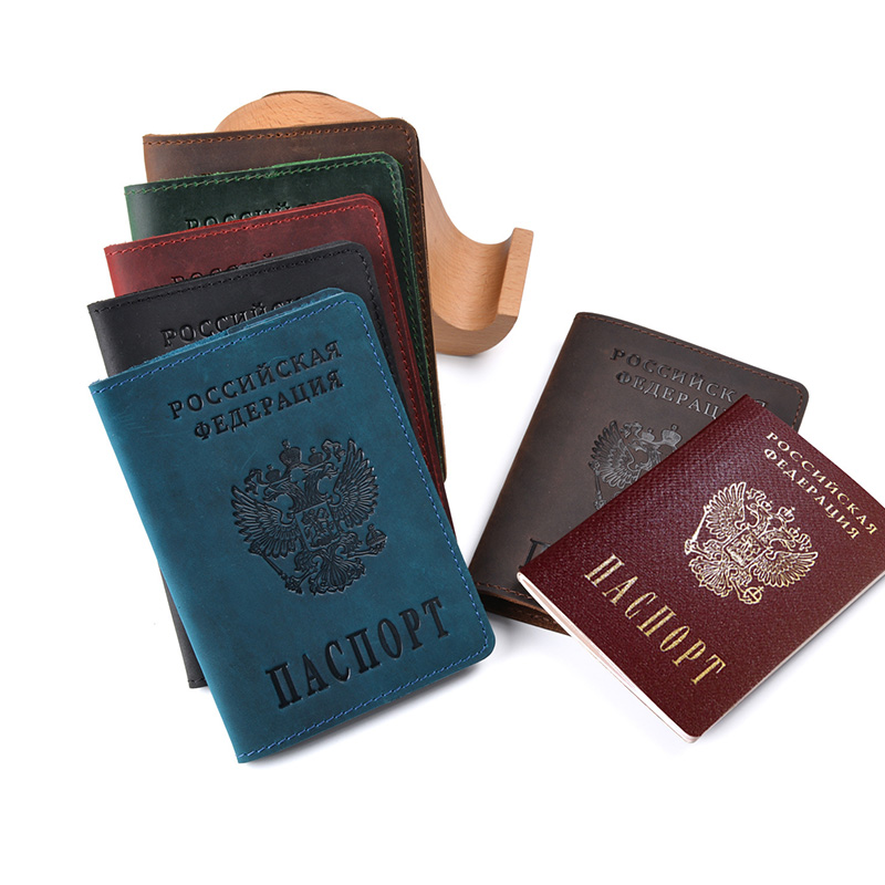 Real Leather Russia Passport Cover Genuine Leather Engraved Covers for Passport Full Grain Leather Passport Gift for Him