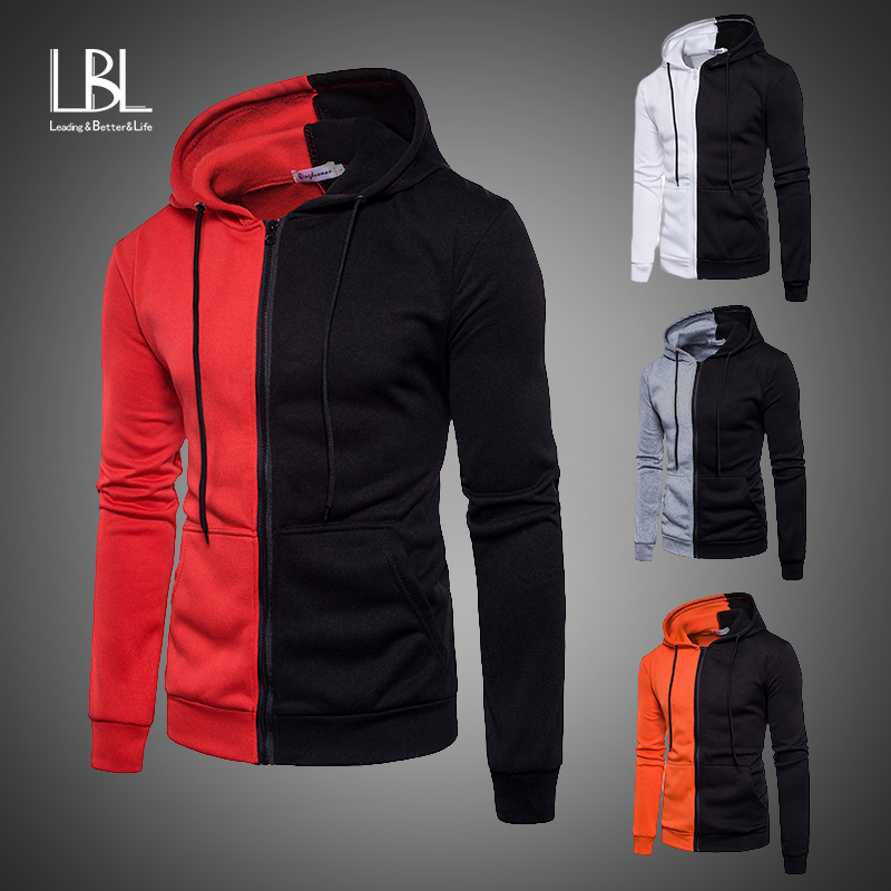 Hooded Bomber Jacket Men 2019 Sportswear Patchwork Sweatshirt Zipper Casual Coat Mens Moletom Masculino Fleece Hoodies Tracksuit