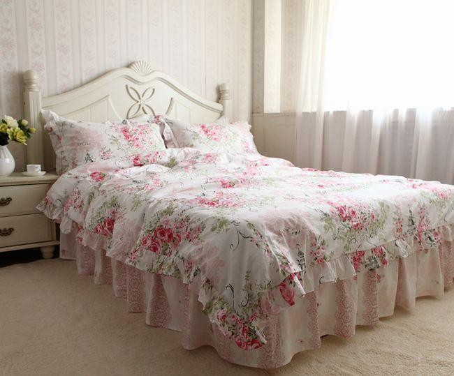 great princess pink ruffle lace bedding floral duvet cover settwin queen king fullin bedding. Black Bedroom Furniture Sets. Home Design Ideas