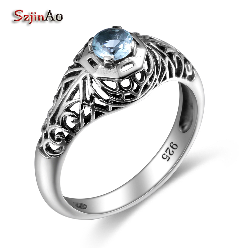 Szjinao Wedding Engagement Love Small Austrian Aquamarine Ring For Women Classic Vintage 100% 925 Sterling Silver Fine Jewelry