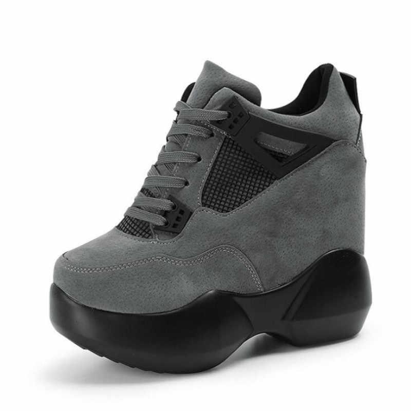 2019 kadın Yüksek platform ayakkabılar Nefes PU ayakkabıları Kadın Yüksekliği Increasi Ayakkabı 12CM Takozlar Kalın Taban Eğitmenler Bayanlar Sneakers