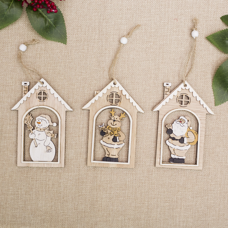 Cute Christmas Wooden Hanging Ornaments Pendant String With Burlap Rope For Home Christmas Tree Bar Shop Decor