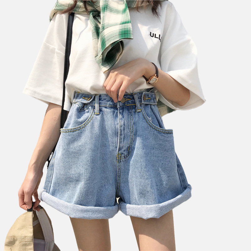 Джинсовые шорты с манжетами и широкими штанинами регулируемые шорты с высокой талией для женщин купить на AliExpress