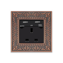 UK Zinc alloy frame Emboss 13A Square 3 Pin/hole wall socket and Double USB wall outlet,With 5V USB port power Charger for Phone